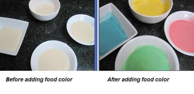 Before and After adding edible food color