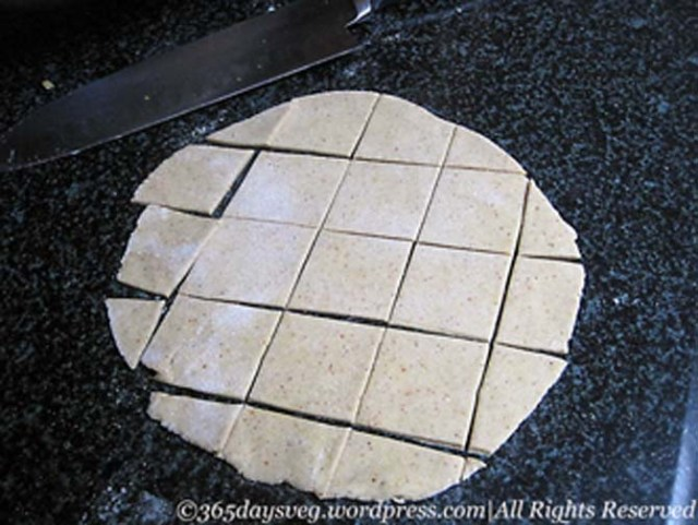 Wheat flour cut into diamonds